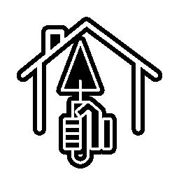 ホーム概要無料アイコン内の三角形のシャベルを持つ手