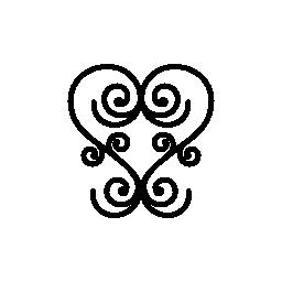 細い線無料アイコンの対称の螺線形の中心のような花のデザイン