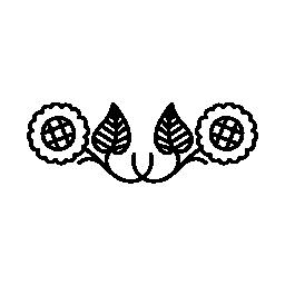 花カップル対称の花柄のデザイン無料のアイコン