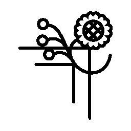 1 つの花ラインと小さな円無料アイコンの花柄のデザイン