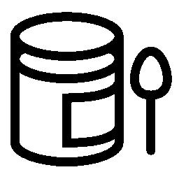 赤ちゃんのピューレ鍋およびスプーン無料アイコン