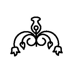 花柄のデザインのシャンデリア無料アイコン