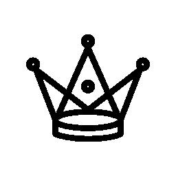 無料のアイコンを小さな円と背の高い三角形の王冠
