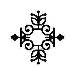 ツルおよび葉の輪郭の無料アイコンと花柄のデザイン