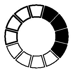 カラー ホイール黒と白の無料アイコン