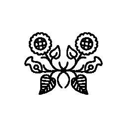 対称的な花柄装飾無料アイコン