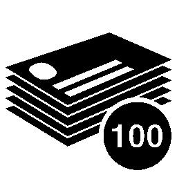 100 のビジネス カードをスタック無料アイコン