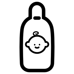 赤ちゃんの顔の無料アイコンの開いた哺乳瓶