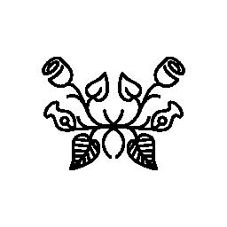 フラワー デザイン バラ バリアント ミラー効果無料アイコン