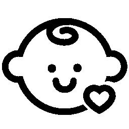 赤ちゃんの頭の小さなハート概要無料アイコン