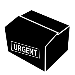 緊急配送無料アイコンと梱包箱