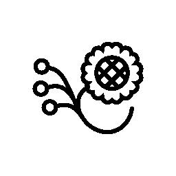 3 種の無料アイコンの付いたブランチで一つの花