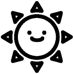 笑みを浮かべて太陽無料アイコン