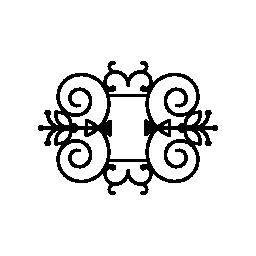 二重対称無料アイコンと花柄のデザイン