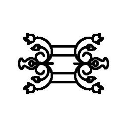 二重対称無料アイコンの花柄のデザイン