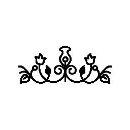 水平対称無料アイコンと花柄のデザイン