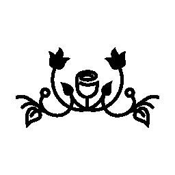 バラ アウトラインの変形の葉およびブドウ デザイン無料のアイコン
