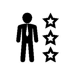 三つ星概要無料アイコン ビジネス装いで男