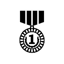 番号を 1 つの無料のアイコンのメダル