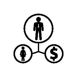 ドル通貨無料アイコンとヒューマン リンク