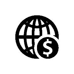 ドル記号の無料アイコンとグローブ球グラフ