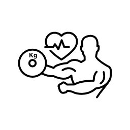 ライフライン無料アイコンとダンベルとハート形の体操選手