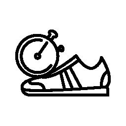 タイマーの無料アイコンと体操選手のスポーツ靴側ビューの外形