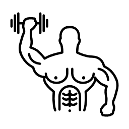 筋肉の男性体操ダンベル無料アイコンの上昇