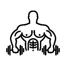 2 つのダンベルと運動筋肉男性体操選手無料アイコン