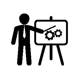 ボードの無料アイコンをグラフィックでプレゼンテーションのビジネスマン