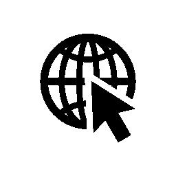 ポインターの矢印の無料アイコンと地球のグリッド