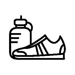 体操選手のスポーツの靴やボトル水の無料アイコン
