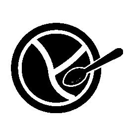 赤ちゃん分けられる皿とスプーン無料アイコン