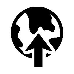 地球地球の無料アイコン上の矢印に昇順のシンボルをアップロードします。