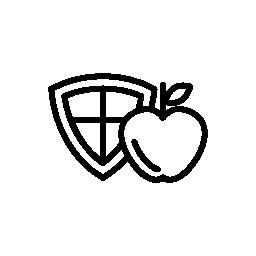 アップルとシールド無料アイコン