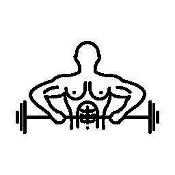 巨大なダンベル無料のアイコンを運ぶ男性重量挙げの概要