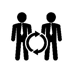接続の無料アイコンのある実業家