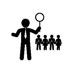 ビジネス リーダーの背景無料アイコンを他の労働者と拡大鏡を保持