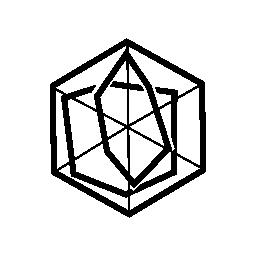 無料のアイコン内にある図形との六角形