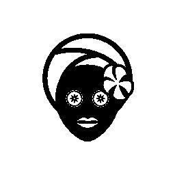 スパの無料アイコンの花を持つ顔のマスク