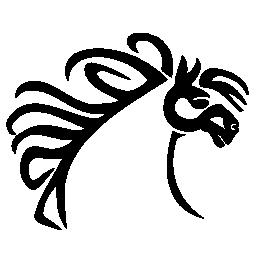 美しい髪のライン無料のアイコンを持つ馬