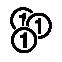無料アイコンの番号 1 の硬貨お金変形