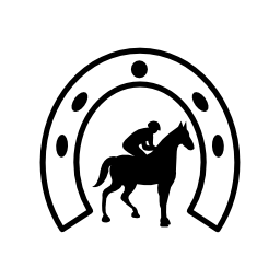 馬蹄形の無料アイコンの下の騎手の歩く馬