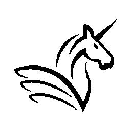 ホーンと翼の無料アイコンとユニコーンの馬の頭