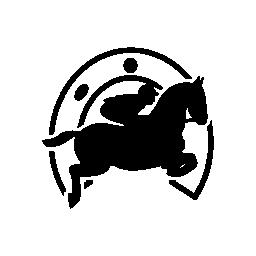 ホースシュー無料アイコンの前の騎手と馬のジャンプ