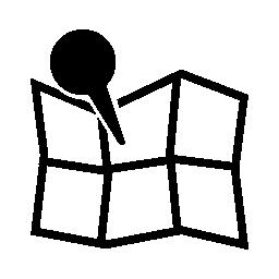 折り畳まれた地図を開く無料のアイコン上のロケーター