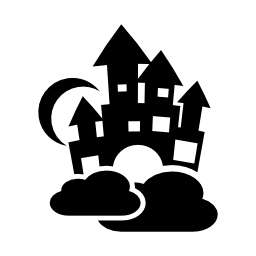 空の城雲と月の無料のアイコンを