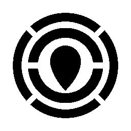 円形の迷路無料アイコンの中央にポインターをマップします。