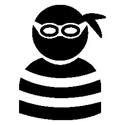 アイピースとストライプのトップ無料のアイコンを着て犯罪者