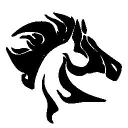 乱雑なたてがみ側と馬の頭を見る無料のアイコン